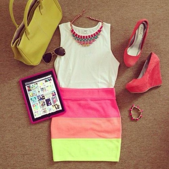 skirt rainbow clothes shoes bags necklaces pink yellow orange skirt bodycon bodycon skirt beautiful dress summer dress sunglasses neon coloured skirt orange colorful happy necklace striped skirt high waisted skirt ny blouse bag