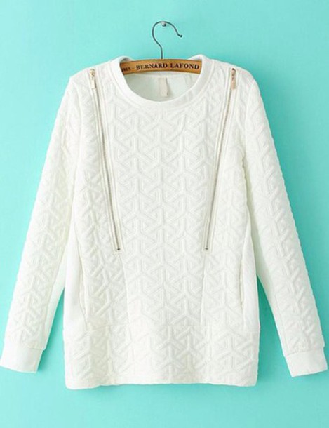 White Zipper Sweater White Sweater Top Blouse