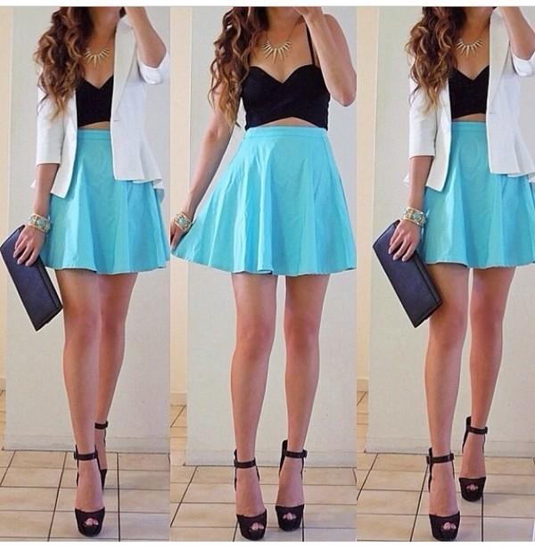 skirt shoes blouse jacket jewels