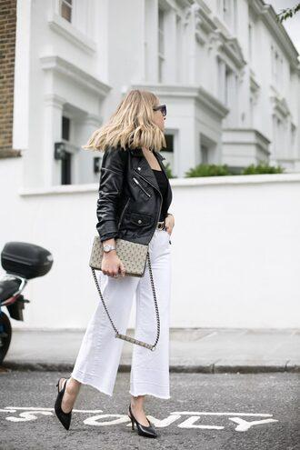 jeans tumblr white jeans culottes shoes slingbacks jacket black jacket leather jacket bag