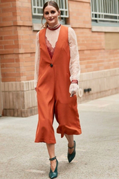top,orange,olivia palermo,ankle boots,fashion week,streetstyle,fall outfits,jumpsuit,pants,blogger