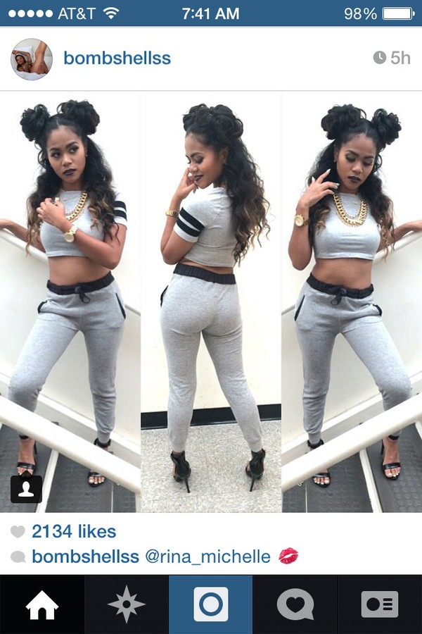 grey grey crop tops soft material gold chain buns curly hair beautiful sweater material joggers cute pretty jumpsuit pants
