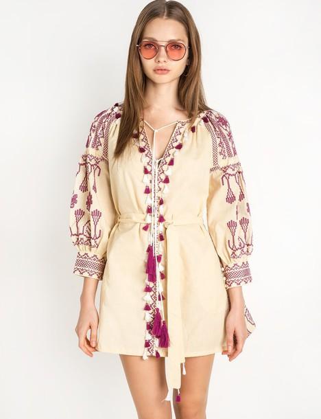 a94ff2bc32f2 dress embroidered balloon sleeve ecru dress babydoll dress mini dress boho dress  cute dress embroidered dress