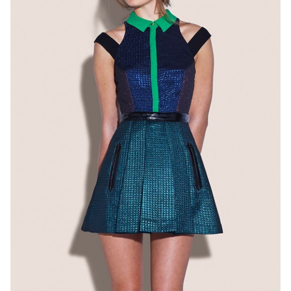 Embossed Color Blocking Dress With Cutout Panels