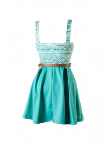 Teal Aztec Printed Belted Dress