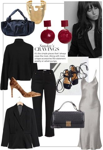 teetharejade blogger bag sweater jewels jeans dress shoes jacket fall outfits blazer pumps high heel pumps black sweater black pants