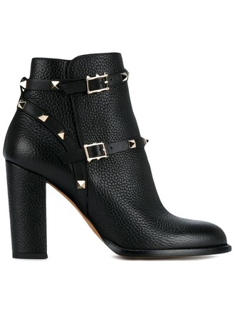 metal women boots ankle boots leather black shoes