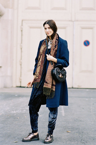 vanessa jackman blogger pants silver shoes printed scarf blue coat vivienne westwood velvet