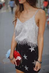 skirt,glitter skirt,mini skirt,black skirt,stars,disco skirt,top,fringes,fringed top,party outfits
