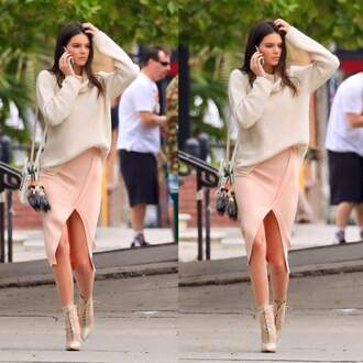 skirt kendall jenner slit skirt nude skirt sweater
