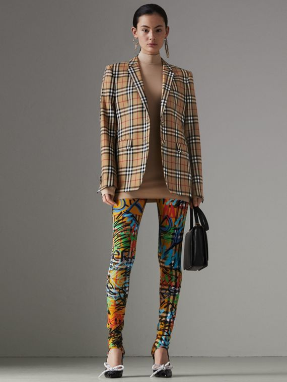 Vintage Check Wool Tailored Jacket in Antique Yellow - Women | Burberry United Kingdom