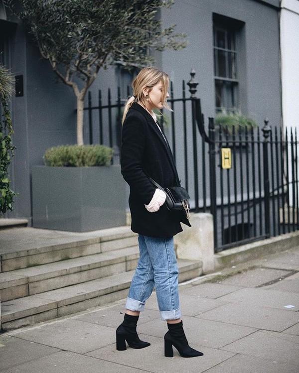 ffee9282f shoes boots black boots sock boots coat black coat bag black bag jeans  denim blue jeans