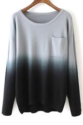 sweater,long sleeves,dip dyed,tie dye,black,white,grey,pockets