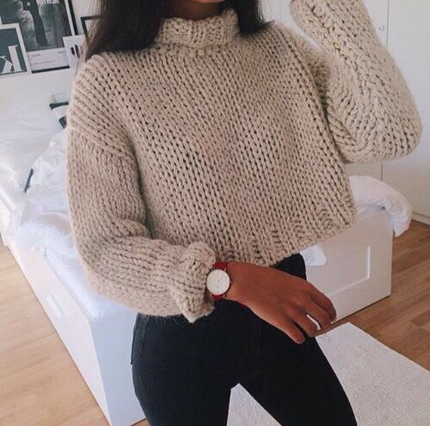 Sweater: wooly, knitwear, cream, knitted sweater, white, cream ...