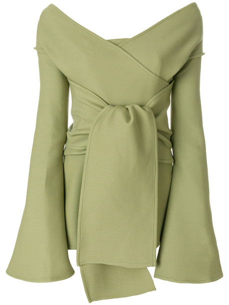 blouse off the shoulder women spandex wool green top