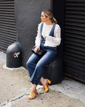 jeans,high heels,top,tumblr,flare jeans,blue jeans,overalls,denim overalls,dungarees,shoes,mules,white top