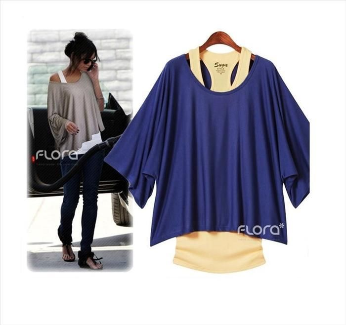 2 IN 1 SET LONGSHIRT / BLUSEN PONCHO TUNIKA/ TOP SHIRT 4 FARBEN NEU ***** | eBay