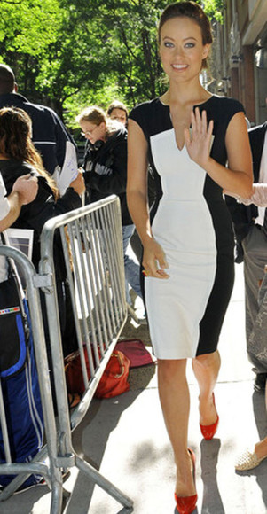 olivia wilde dress celebrity celebrity style steal color block pencil dress little black dress white dress celebrity dresses celebrity dress women's women's dress v-neck deep v neck dress sexy v-neck dress v neck dress celebrities