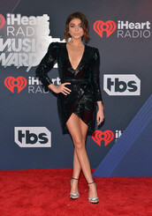 dress,black dress,mini dress,iheartradio,sandals,sandal heels,little black dress,sequins,sequin dress,sarah hyland,plunge dress,plunge v neck