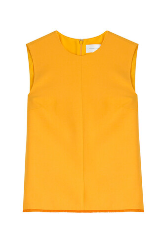 top sleeveless top sleeveless wool orange