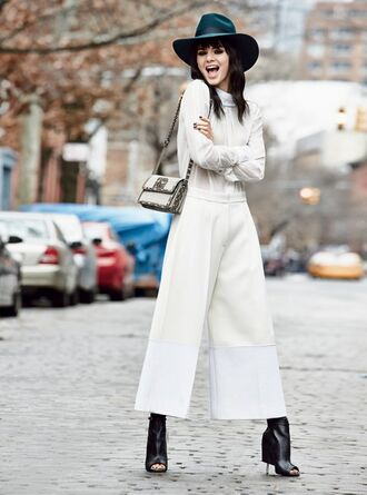 wide-leg pants hat culottes peep toe boots kendall jenner shoes
