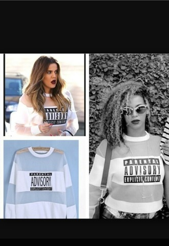 khloe kardashian cute dope sexy parental advisory explicit content sweater sweatshirt long sleeves white black black and white