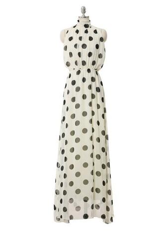 halter dress evening dress polka dots fashion dress maxi prom dress white dress maxi dress