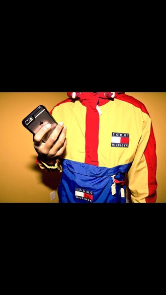 jacket tommy hilfiger coat windbreaker red yellow blue menswear trill vintage clothes tommy hilfiger windbreaker red yellow & blue