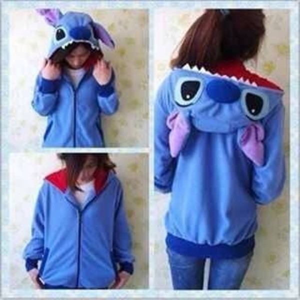 jacket hoodie sweater vintage blue stitch cartoon colorful zipup windbreaker