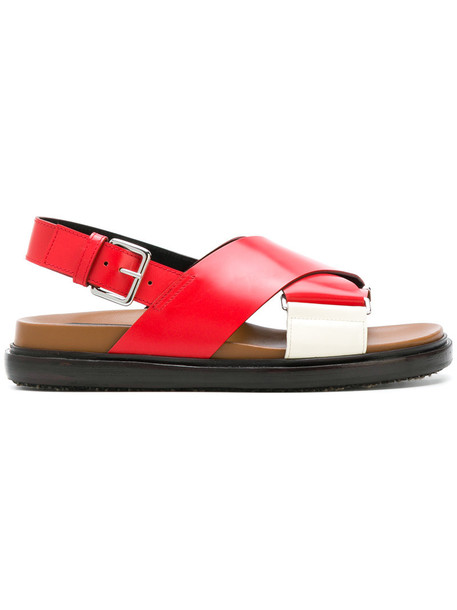 MARNI cross women sandals leather red shoes