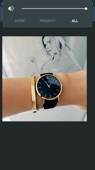 jewels black quartz leather strap watch