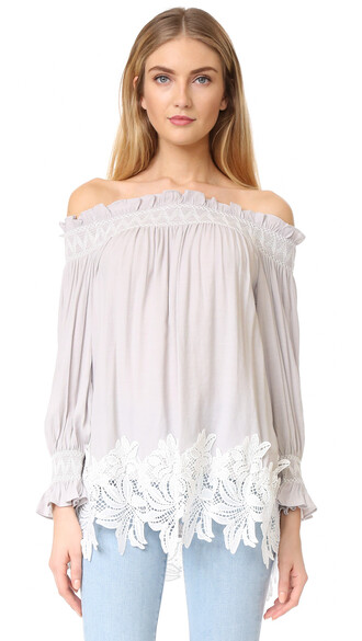 top lace white grey