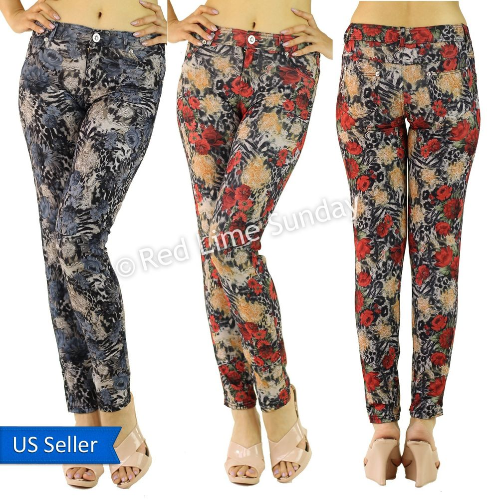 Women animal leopard floral color red navy casual pants zip closure w/ pockets
