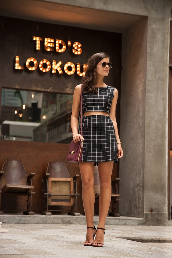 shirt skirt two-piece dress co-ordinates co ord co ords black co ords black white plaid skinny plaid geometeric crop crop tops mini skirt white co ords skirt and crop top set