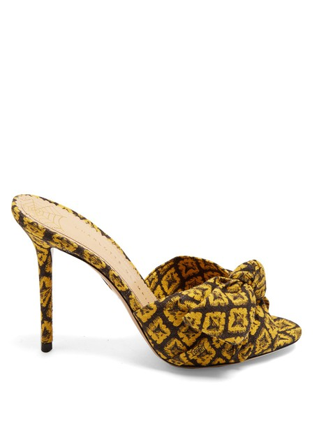 charlotte olympia pineapple mules print yellow shoes