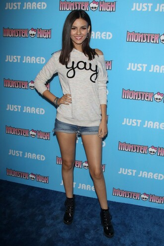 sweater top victoria justice ankle boots boots shorts denim shorts shoes
