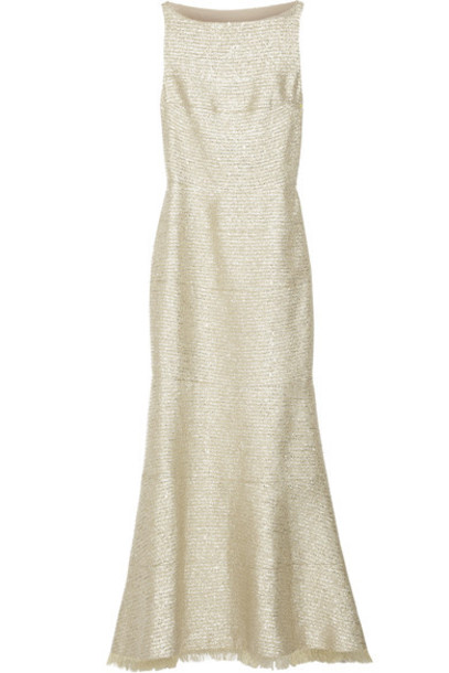 gown embellished gold dress