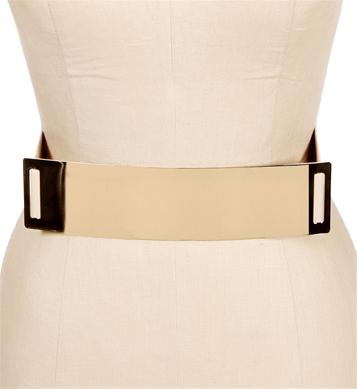 Beige/gold metal bar belt