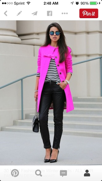 coat hot pink pink dress pink coat fashion style chic outer wear jacket fall bows pretty los angeles streetwear clothes pea coat buttons trench coat cotton