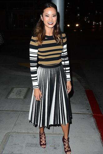 skirt midi skirt jamie chung sandals stripes striped sweater sweater optical pleated skirt proenza schouler