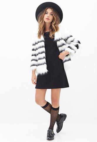 jacket faux fur white black