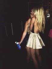 skirt,gold sequins,gold,high waisted skirt,dress,backless