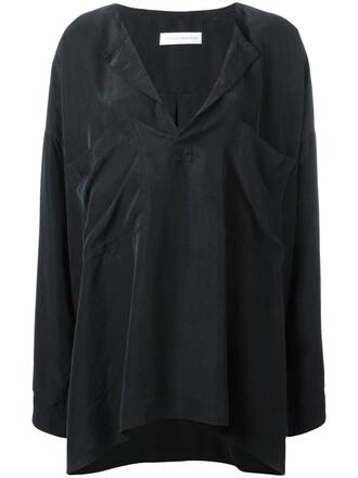 tunic women black silk top