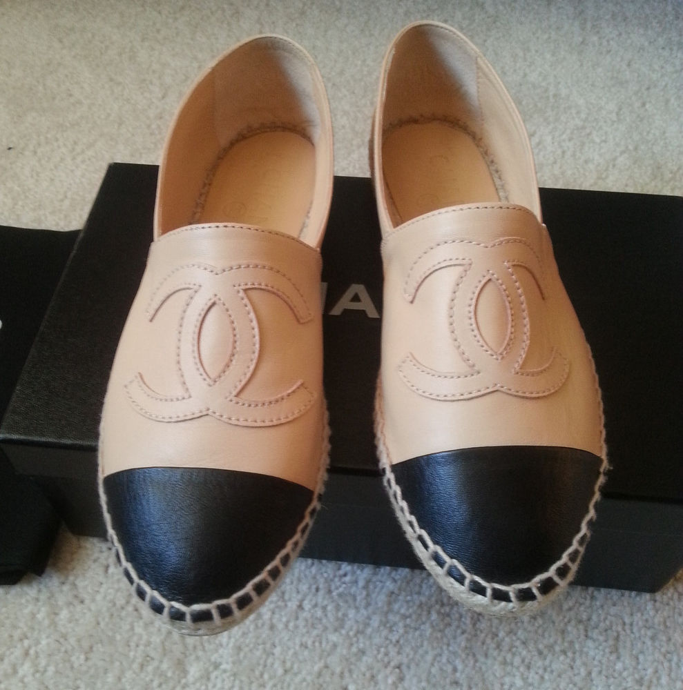 Chanel Leather Espadrilles Flats 14c Beige Tan Black Sz 38 | eBay