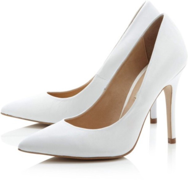 Shoes: white high heels, court heels, white, pointed toe - Wheretoget