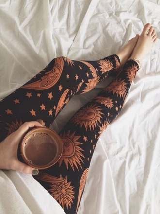 leggings sun moon stars tights black comfy warm orange celestial zodiac