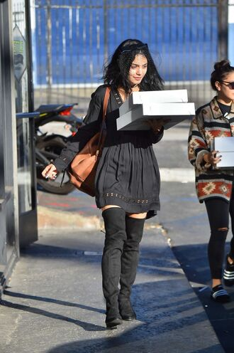 dress boots vanessa hudgens all black everything fall outfits fall dress