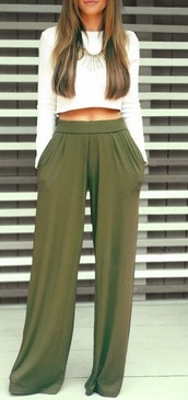 boho,bohemian,freespirit,gypsy,blouse,pants,olive green,wide-leg pants,jeans,style,fashion,sweatshirt,girl,girly,green,wish,white,hair,long