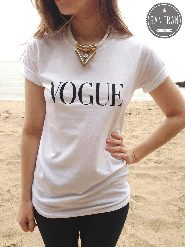 * VOGUE Fashion T-shirt Top White Black Grey Retro Hipster PARIS LONDON Style *