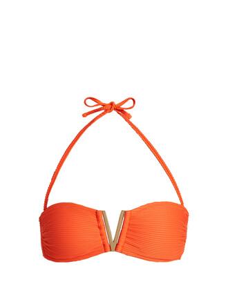 bikini bikini top bandeau bikini orange swimwear
